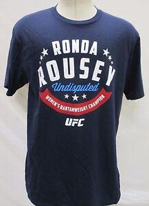 Ronda-Rousey-UFC-Men-039-s-Small-34Seconds-Graphic-T-Shirt-MMA-Navy-Blue-Reebok