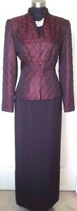 Marie-St-Claire-Skirt-Jacket-8-Evening-Wedding-MOB-Red-Black-Beaded-Dress-Suit-M