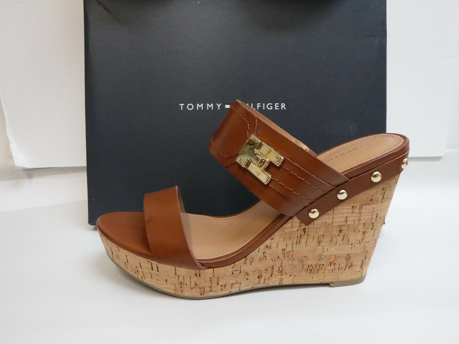 Tommy Size Hilfiger Size Tommy 9 Wedge Sandals Heels New Donna Shoes ba3066
