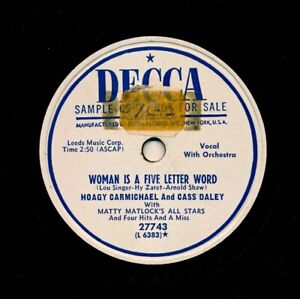 HOAGY-CARMICHAEL-amp-CASS-DALEY-on-1951-Decca-27743-Woman-Is-a-Five-Letter-Word