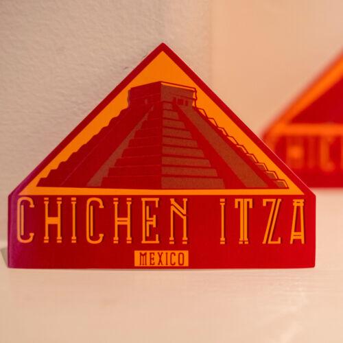 "#4299 Chichen Itza Mexico Mayan Vintage Art 3x4/"" Luggage Label Decal Sticker"
