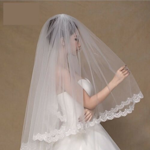 2 Tier Bridal Veil Beautiful Ivory Cathedral Short Wedding Veils Comb Lace Edge