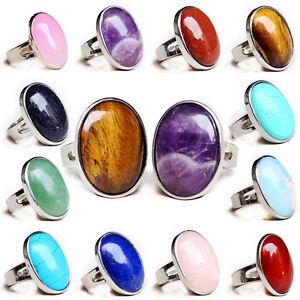 Natural-gemstones-Botswana-Reiki-Chakra-Oval-Alloy-Opening-Adjustable-Thumb-Ring