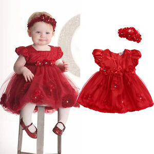 US-Stock-Baby-Girl-Christmas-Princess-Dress-Headband-Wedding-Party-Dresses-Red