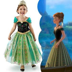 Girls Frozen Princess Anna Costume Party Birthday Dress size: 2-10Yrs