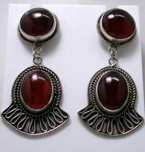 Vintage Large Heavy Silver And Carnelian Agate Dropper Earrings