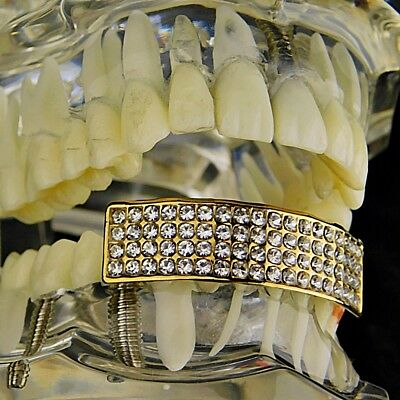 Bling Grillz Gold Plated Top Row Open Faced Hiphop Tooth Bling Grillz