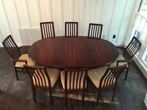Details About Large Mid Century Modern Rosewood Dining Table With Leaves Mcm