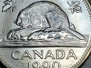 Canada-1990-Five-Cents-Nickel-Small-Bare-Belly-Choice-BU-UNC-Uncirculated