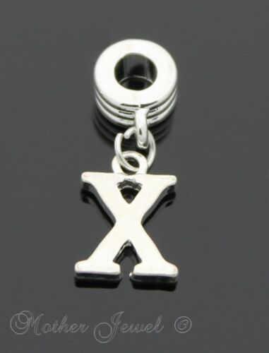 STERLING SILVER SP Initial Letter X Dangle European Bracelet Bead Charm Pendant