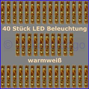 S332-40-Stueck-LED-Beleuchtung-5cm-WARMWEIss-Haeuser-Waggons-RC-Modelle-uvm