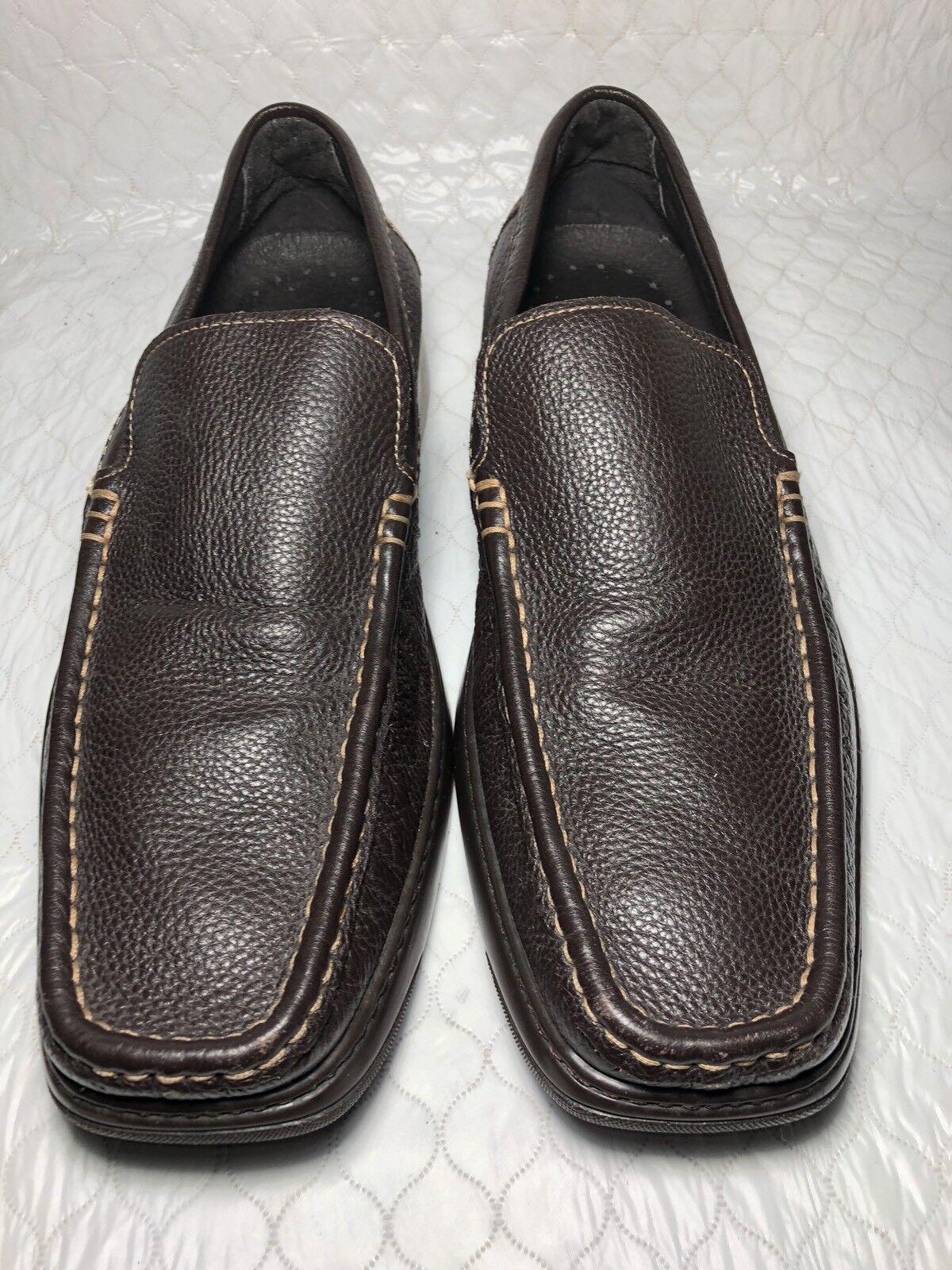 Dobals J. Leather Pliner Men's Brown Pebbled Leather J. Slip On Loafers Size-11.5 5e9061