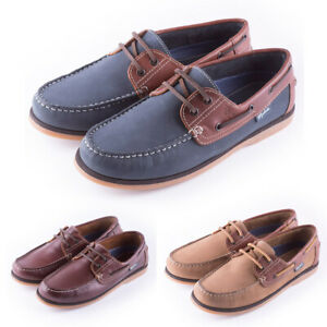 Men-039-s-Deck-Shoes-Leather-Boat-Shoes-Navy-and-Brown-by-Rydale