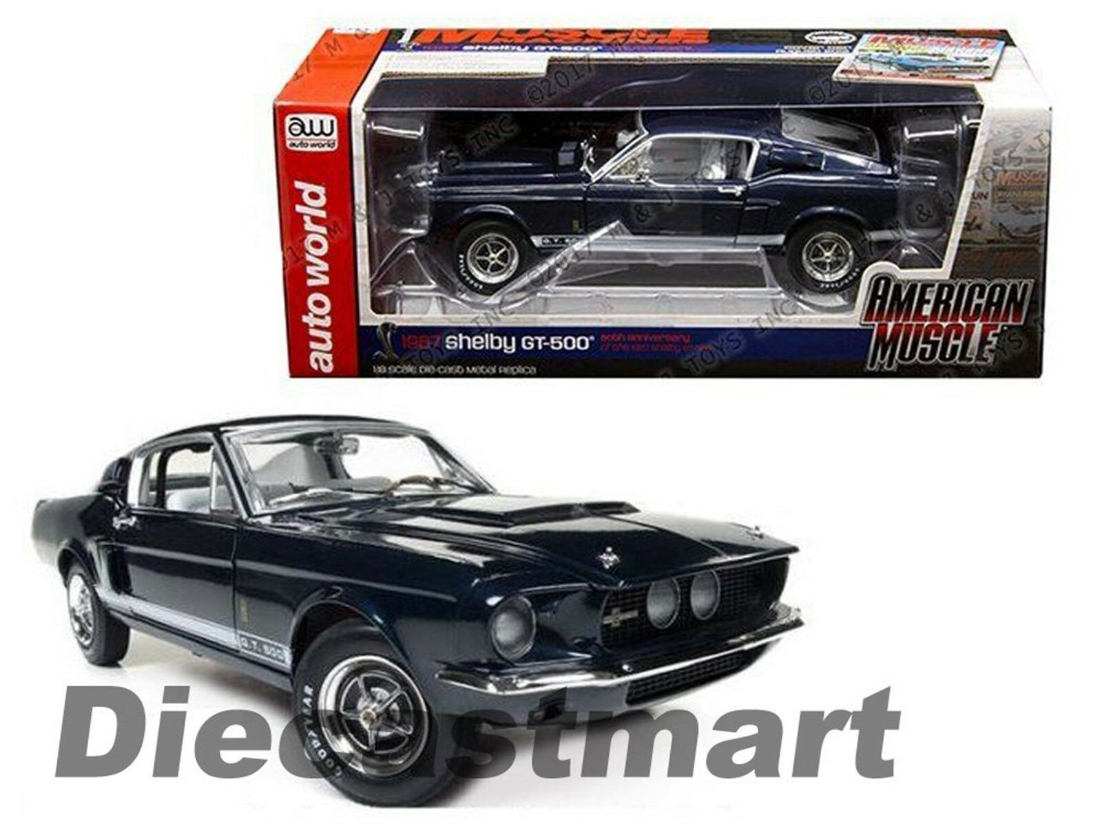 1967 Ford Shelby Gt 500 50th Aniversario Hemmings 1 18 Autoworld AMM1111 azul
