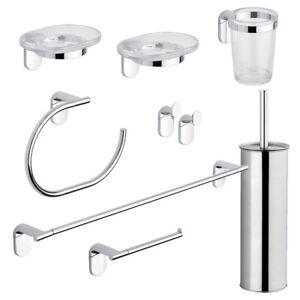 Set kit 8 pezzi accessori bagno parete porta asciugamani rotolo sapone scopino ebay - Set asciugamani bagno ...