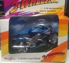 MAISTO 1/18 SCALE KAWASAKI ZX9R NINJA BLUE SILVER NIP Motorcycle NEW Vintage HTF
