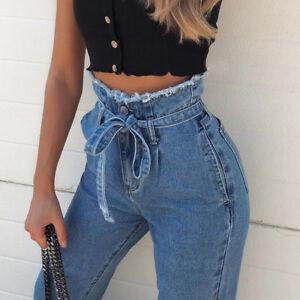 Women-Fashion-Stretchy-High-Waisted-Straight-Frayed-Denim-Mom-Jeans-Pants