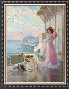 """Hand painted Original Oil painting art Impressionism girl dog on Canvas 24""""X36"""""""