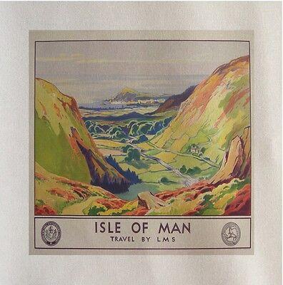 TT Isle Of Man Travel Printed Fabric Panel Make Cushion Upholstery Craft