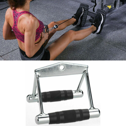 Double Seated V Row Close Grip Handle Multi Gym Cable Attachment Bar Twin Lat