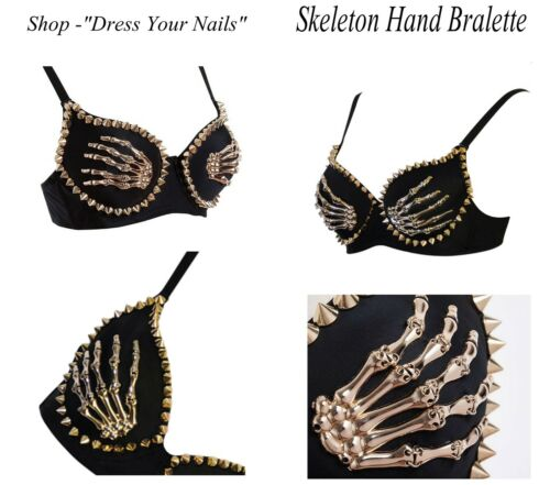 Bralette Gold Studded Cones Spikes Rivets Skeleton Hands Dance Party Club Top