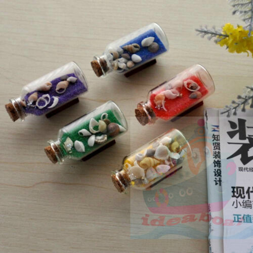 SET5 PCS MIXED BOTTLES 5.5cm L x 3.5cm W of Sand & Seashells Nautical Decor