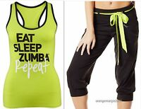 Zumba Fitness-2 Piece Set-capri Pants & Instructor-written On Back Of Racerback