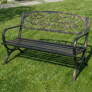 50 Welcome Decorative Patio Garden Outdoor Park Bench Seat Backyard Bronze Ebay