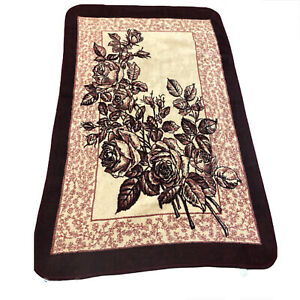 San-Marcos-Reversible-Blanket-Red-Beige-Roses-54-x-84-Mexican-Vintage-floral