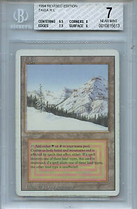 MTG Revised Taiga Dual Land BGS 7 NM Magic Card Amricons 5613