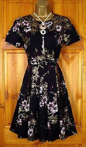 NEW-DOROTHY-PERKINS-BLACK-PINK-GOLD-VINTAGE-50s-STYLE-FLORAL-SUMMER-TEA-DRESS
