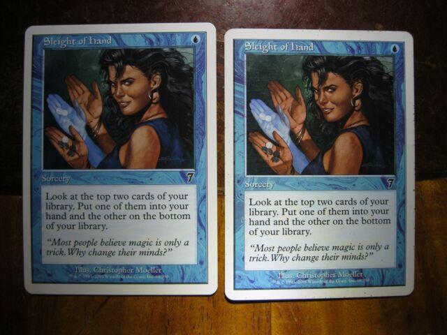 4 Sleight of Hand ~ Blue Seventh 7th Edition Mtg Magic Common 4x x4