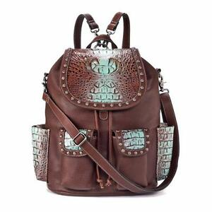 check out price new design Details about Blazin Roxx Western Womens Purse Backpack Carmel Croc Print  Tan N7535508