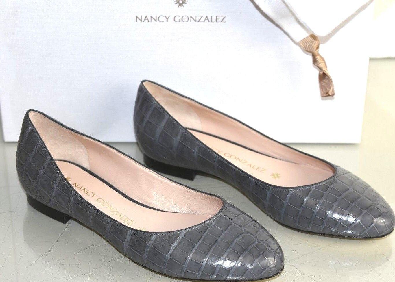 vanno a ruba NEW NEW NEW Nancy Gonzalez CRISTINA Crocodile Alligator Flats grigio scarpe Bag 35.5  ordina ora con grande sconto e consegna gratuita