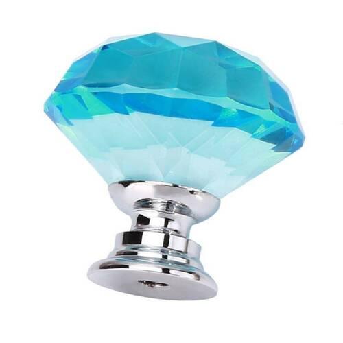Fashion Crystal Glass Diamond Door Drawer Wardrobe Cabinet Pull Handle Knob S