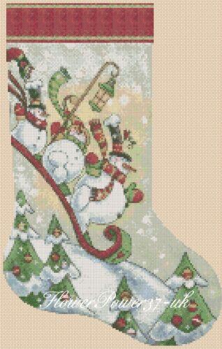 Cross stitch chart  Christmas Stocking Snowmen Sledging  FlowerPower37.