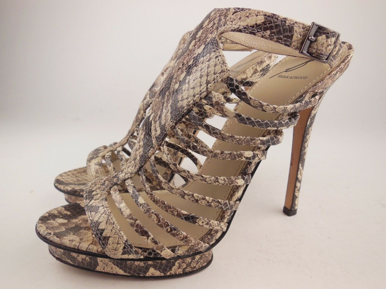 BRIAN ATWOOD Calista Snake Leather Ankle Strap Gladiator Platform Sandals Sz 8.5