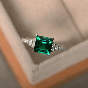 1-95-Ct-Diamond-Emerald-Engagement-Ring-14K-Solid-White-Gold-Rings-Size-N-O-P