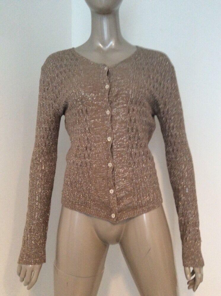 Dries Van Noten Gold Metallic damen Cardigan Sweater Größe Medium Cotton