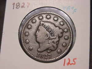 1827 CORONET HEAD LARGE CENT VG + F COMBINED SHIPPING