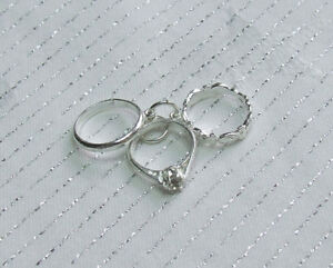 Image Is Loading 3 Piece Wedding Engagement Eternity Ring Set Charm