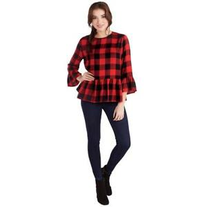 2fa2a6bdef Mud Pie Womens Flora Flounce Shirt Red Black Buffalo Check Print ...