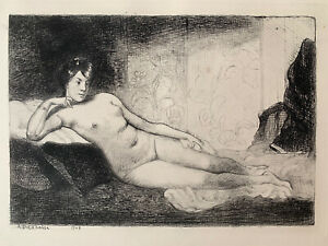 Angèle delasalle high water engraving etching study naked woman nude female lying