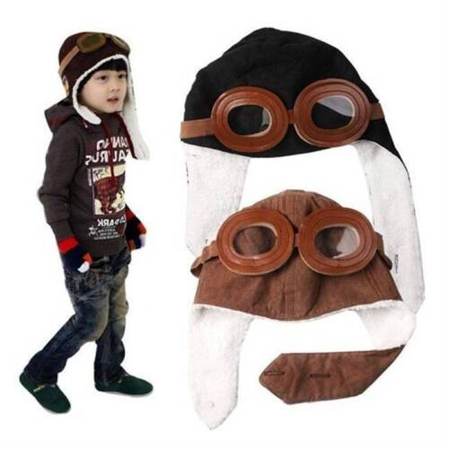 Wool Baby Kid Toddler Winter Earflap Pilot Cap Hat Beanie Bomber Flight Helmet
