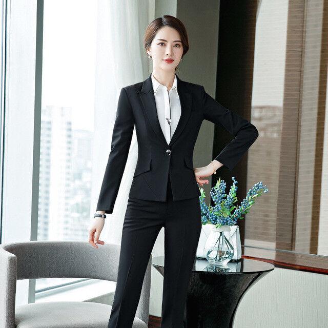 05dcc53d1679 Elegante Dimensioneur completo donna nero manica lunga 7178 giacca pantaloni  nrrewx8293-Tailleur e abiti sartoriali