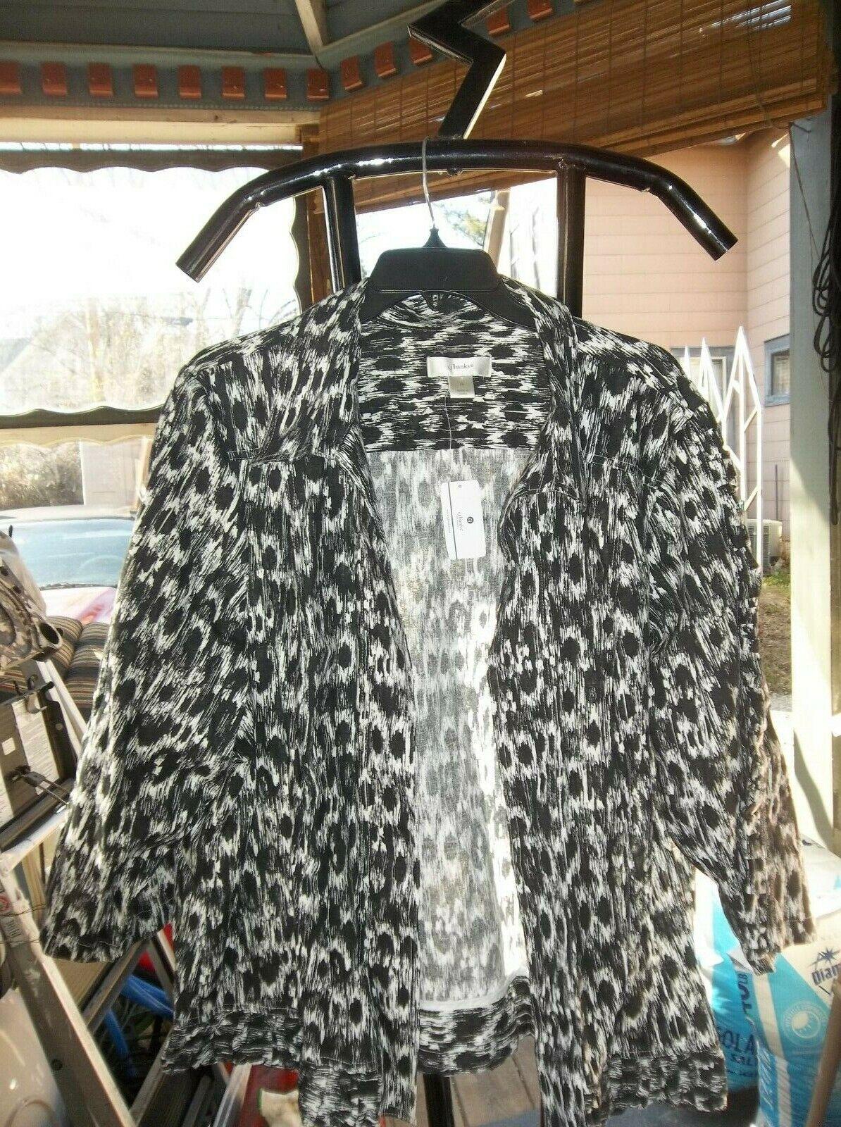 CJ Banks Women's Plus Size 3X 24/26 Black/White Open Front Jacket NWT!
