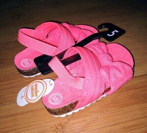 Wonder-Nation-Infant-Toddler-Baby-Girls-Slip-On-Sandal-Coral-Bow-Shoe-5-6