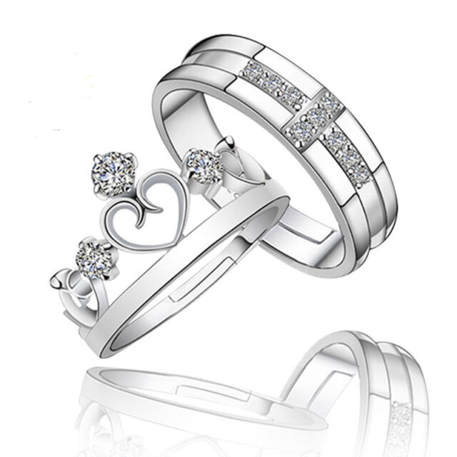 c55e0f9927 Prince Princess Couple Rings Silver His and Her Promise Wedding Band Ring  USA