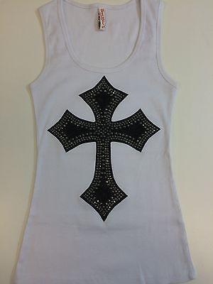 BLACK PATCH RHINESTONE CROSS TANK TOP SHIRT WHITES SIZE:S,M,L,XL,2XL,3XL.