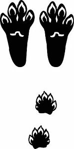 snowshoe tail track / rabbit footprint sticker / hare paw print decal
